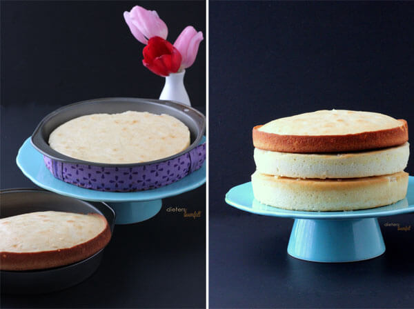 """The difference in cakes baked in a """"naked"""" pan and cake baked using cake baking strips. Big difference. from #DietersDownfall.com"""