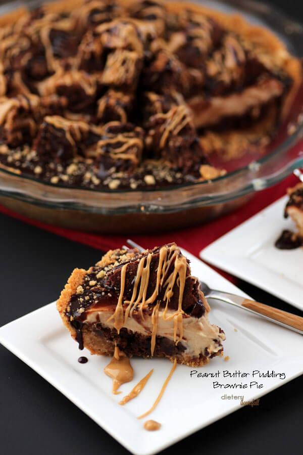 Peanut Butter Cookie Crust, PB Brownies, PB pudding and then more PB brownies! A Peanut Butter lovers dessert! from #dietersdownfall.com
